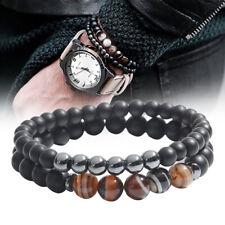 2X/set mantra prière guérison bracelet de perles en pierre naturelle pour hommes