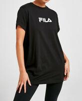 Fila Women Girls ROUND Neck Short Sleeve Black BF T Shirt Top Tee 4 6 8 10 12 14