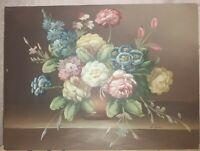 Dipinto A Mano olio Su Tela vaso con fiori Italiano 30x40 pezzo unico telaio 1,5