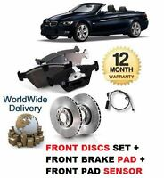 FOR BMW 335i E93 2007-> FRONT BRAKE DISCS SET AND DISC PADS + PAD SENSOR KIT
