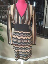Design History Dress Size S Silk Cashmere Brown Beige Gray Zig Zag Knit