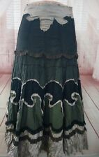 Miss Me Modest Olive Crinkle Skirt Applique Boho Peasant Lined Tattered Small