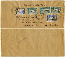 GILBERT + ELLICE CANTON ISLAND KG6 AIRMAIL 3s 8d FRANKING to ESSEX GB 1953