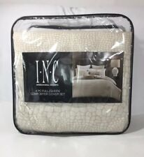 INC International Concepts Caiman Beige FULL QUEEN Duvet Comforter Cover Set 4PC