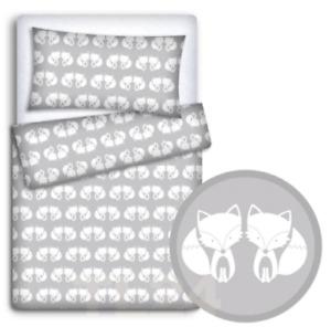2PC BABY BEDDING SET COTTON 120x90 PILLOWCASE DUVET COVER FIT COT Fox Grey
