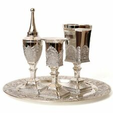 Filigree Silver plated Havdalah set: Spice tower, Candle holder, Goblet & Tray