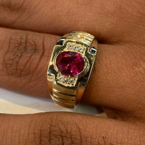 Natural Ruby & CZ Gemstones With 925 Sterling Silver Gold Plated Ring For Men's