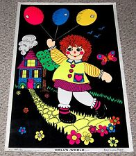 DOLL'S WORLD Flocked Blacklight Poster 1974 Lawery Fisher Art C/C Sales 62248