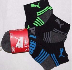 PUMA Boys Gray Athletic Socks 3PACK QTR Crew Cushioned Size 9-11