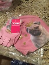 ABG Accessories Big Girls Pink Pug Beanie With Matching Glove Set, One Size