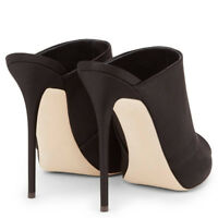 Women Stiletto Mules Black Slip On High Heel Open Toe Sandals Slip On Sexy Shoes