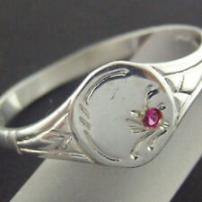 RING REAL SOLID 925 STERLING SILVER RUBY ENGRAVED SIGNET DESIGN SIZE M / 6.5