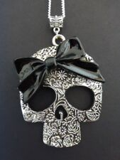 WOMENS GOTHIC EMO STERLING SILVER CHAIN & XL SILVER SUGAR SKULL WITH BLACK BOW