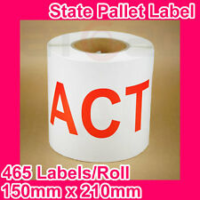 10 Rolls of State Label/Pallet Label - ACT (150mm x 210mm, 4650 Labels in total)