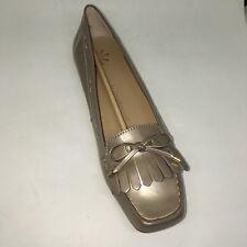New Isaac Mizrahi Live! Women's Patent Moccasins w/ Bow Detail Gold  SZ 10