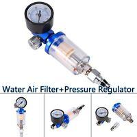 Spray Gun Air Pressure Regulator Gauge+ In-line oil Water Air Filter Separator