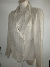 CABI ~CHENILLE~ CREAM White Jacket Double Breasted SNAP'S BLAZER  Women's Small