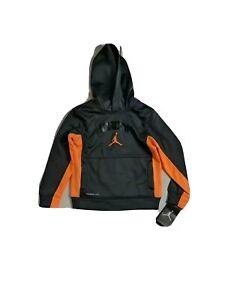 Nike Jordan Therma Fit Hoodie Jacket Child  Size XS 4 Orange And Gray NWT
