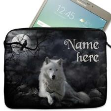 """Personalised Tablet Case WHITE WOLF Neoprene Sleeve Cover 7"""" 8"""" 9"""" 10"""" ST732"""