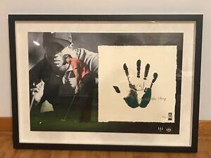 UD 20'' X 28 TIGER WOODS Autographed Frame Tegata Inscribed Litograph COA 18/50