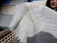 "Shawl 100% Linen ARINELLA ASH STRIPE by Libeco of Belgium 60 x 210 cm 24x82"""