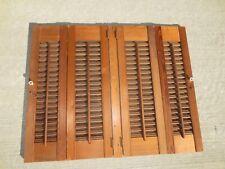 "Vintage Wooden Louvered Window Shutters Panels Antique Decor 32"" x 25 3/4"""