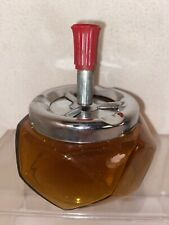 Vtg Mid-Century Amber Glass Red Bakelite Push Down Spinner SMOKELESS Ashtray