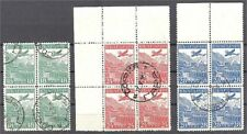BULGARIA AIRPOST 1932 COMPLETE SET IN BLOCKS OF 4 USED!