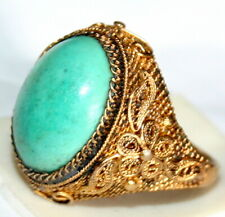 Filigree Fine Hand Made Chinese Ring Antique 925 Silver Gold Plated Turquoise