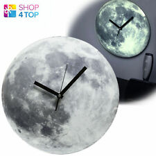 GLOW IN THE DARK MOON SHAPE MOONLIGHT WALL CLOCK MODERN ROUND HOME NOVELTY GIFTS