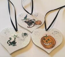 Kitchen Witch Halloween Hanging Decorations X 3 Real Wood With Decals Handmade