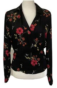 Ann Taylor Wrap Blouse 100% Silk Floral Sheer Top Size 8 Black Red