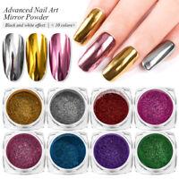 10PCS/set Nail Art Glitter Dipping Powder Chrome Mirror Glitter Pigment Powder