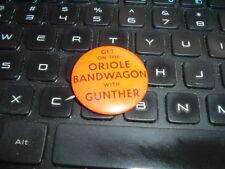 "1950's Baltimore Orioles Pin Pinback Gunther Beer Oriole Bandwagon 1 1/4"""