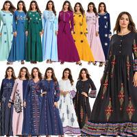 Dubai Muslim Women Embroidery Long Maxi Dress Kaftan Abaya Cocktail Robe Gown