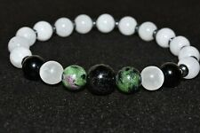 Empath Selenite Black Tourmaline Bracelet Natural Crystal Protection Zoisite