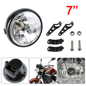 "7"" Universal Motorcycle Motorbike Headlight LED Front Light Headlamp + Bracket"