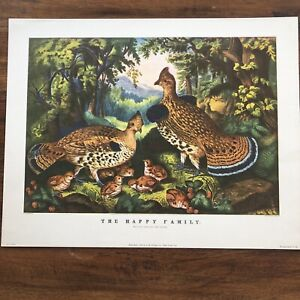 Currier & Ives The Happy Family Ruffed Grouse Art Print 1946 IB Fischer Co