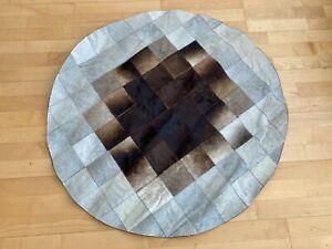 "New Cowhide Rug Leather. Animal Skin Patchwork Carpet. Diameter 40"""
