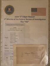 More details for j edgar hoover 1st fbi director original hand signature!!