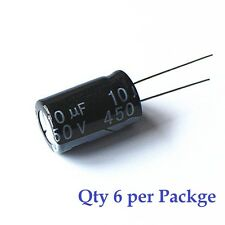 10uF 450v Electrolytic Radial Lead Capacitor (6 Pieces)