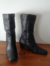 BLACK LEATHER ANKEL BOOTS, WITH ZIPS.. * CORELLI * .. SIZE 8