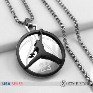 MEN Stainless Steel Jordan # 23 & JUMPMAN Logo Pendant Box Necklace Black 13F