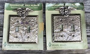 1 Vintage New Old Stock Double Light Switch Cover Plate HEAVY Brass Eagle Top