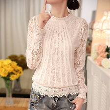 Women Semi Sheer Embroidery Floral Lace Crochet Double Layer T-Shirt Top Blouse