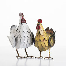 Set Of 2 Metal Rooster Cockerel Hen Garden Ornaments
