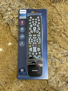 New Philips Backlit Universal Remote Control Preprogrammed Samsung/Roku - Black