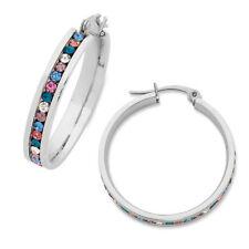 Unbranded Crystal Stainless Steel Hoop Fashion Earrings