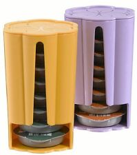 2 x Tassimo Koziol Stack T Disc Pod Holders - Each Holds 8 Discs Yellow & Purple