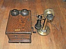 Western Electric candlestick phone w/working dynamo crank box c.1910